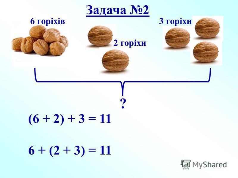 6 горіхів 2 горіхи 3 горіхи ? (6 + 2) + 3 = 11 6 + (2 + 3) = 11 Задача 2
