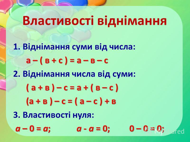 Властивості віднімання 1. Віднімання суми від числа: а – ( в + с ) = а – в – с а – ( в + с ) = а – в – с 2. Віднімання числа від суми: ( а + в ) – с = а + ( в – с ) (а + в ) – с = ( а – с ) + в (а + в ) – с = ( а – с ) + в 3. Властивості нуля: а – 0
