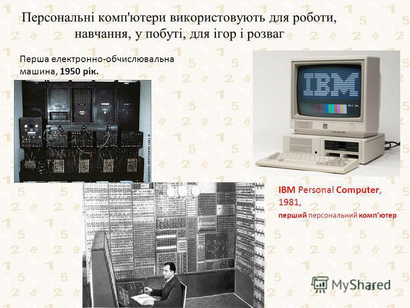 Персональні комп'ютери використовують для роботи, навчання, у побуті, для ігор і розваг Робота Кравчук Г.Т., СЗШ 8 м.Хмельницького 13 IBM Personal Computer, 1981, перший персональний компютер Перша електронно-обчислювальна машина, 1950 рік.