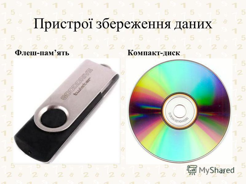Пристрої збереження даних Флеш-памятьКомпакт-диск 22