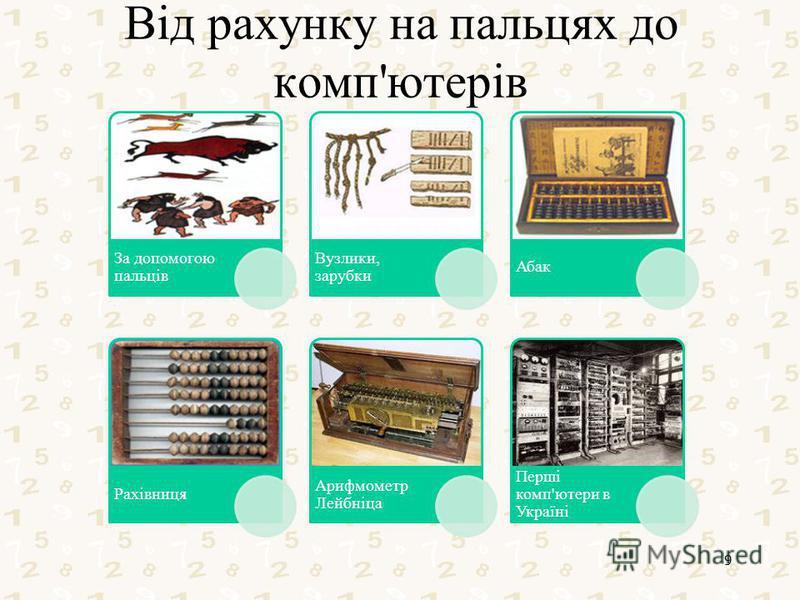 Від рахунку на пальцях до комп'ютерів За допомогою пальців Вузлики, зарубки Абак Рахівниця Арифмометр Лейбніца Перші комп'ютери в Україні 9