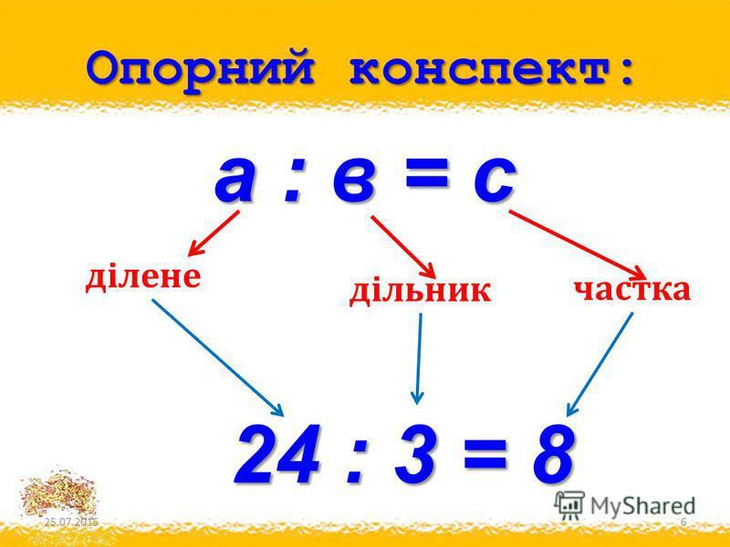 Опорний конспект: 25.07.20156 ділене дільник частка а : в = с 24 : 3 = 8