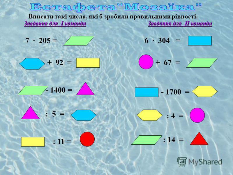 Вписати такі числа, які б зробили правильними рівності: Завдання для І команди Завдання для ІІ команди 6 304 = + 67 = - 1700 = : 4 = : 14 = 7 205 = + 92 = - 1400 = : 5 = : 11 =