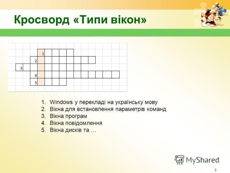 Кросворд «Типи вікон» 3 1.Windows у перекладі на українську мову 2.Вікна для встановлення параметрів команд 3.Вікна програм 4.Вікна повідомлення 5.Вікна дисків та …