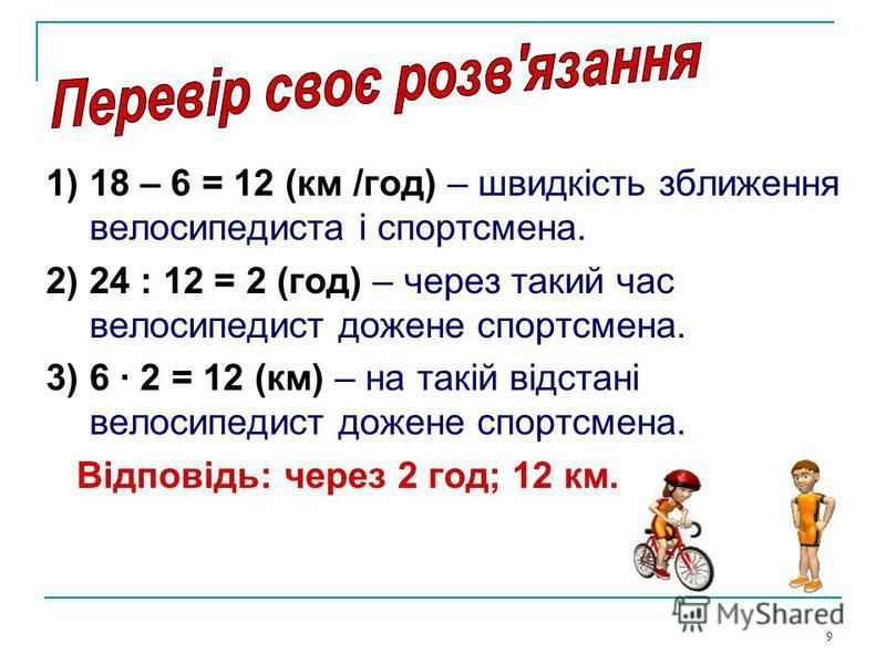 9 1) 18 – 6 = 12 (км /год) – швидкість зближення велосипедиста і спортсмена. 2) 24 : 12 = 2 (год) – через такий час велосипедист дожене спортсмена. 3) 6 2 = 12 (км) – на такій відстані велосипедист дожене спортсмена. Відповідь: через 2 год; 12 км.