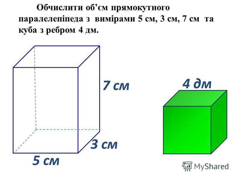 3 cм 5 cм 7 cм Обчислити обєм прямокутного паралелепіпеда з вимірами 5 cм, 3 cм, 7 cм та куба з ребром 4 дм. 4 дм