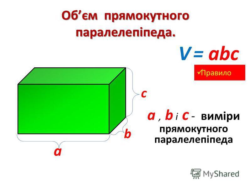 Обєм прямокутного паралелепіпеда. а а, b і с - виміри прямокутного паралелепіпеда с b V = аbc Правило