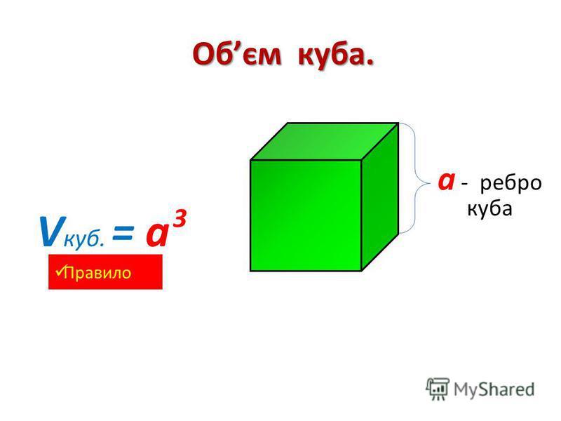 Обєм куба. V куб. = а а - ребро куба 3 Правило