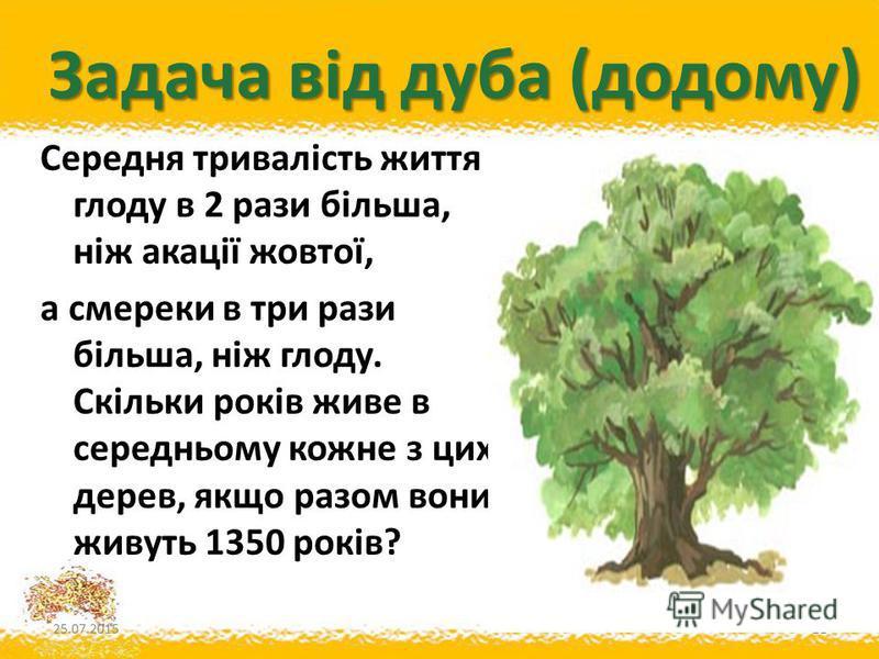 Задача від дуба (додому) Середня тривалість життя глоду в 2 рази більша, ніж акації жовтої, а смереки в три рази більша, ніж глоду. Скільки років живе в середньому кожне з цих дерев, якщо разом вони живуть 1350 років? 25.07.201521