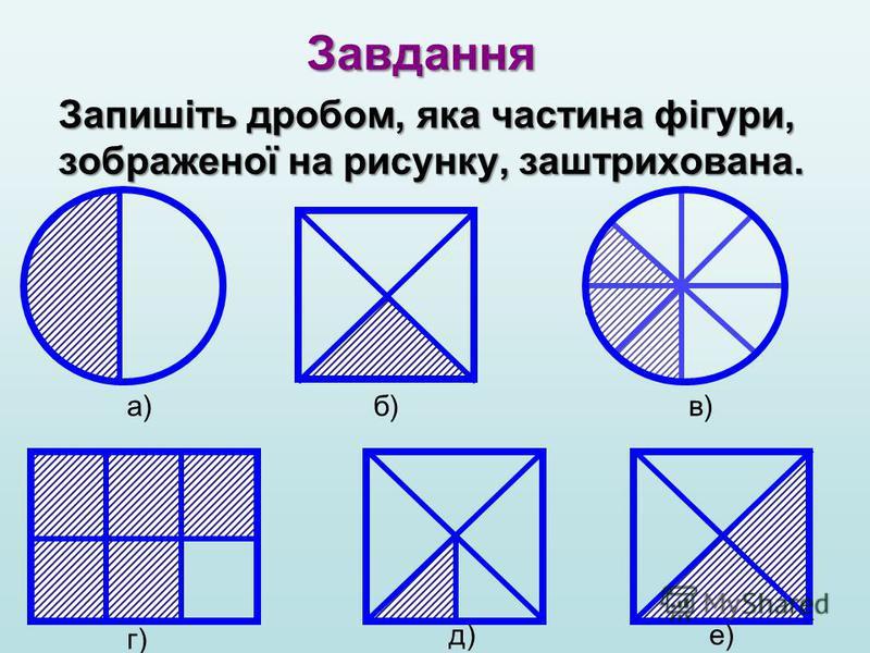 Завдання Запишіть дробом, яка частина фігури, зображеної на рисунку, заштрихована. а)б)в) г) д)е)