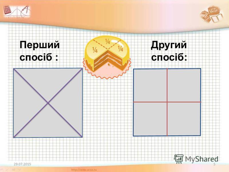 Проблемне завдання Побудуйте квадрат зі стороною 3 см. Поділіть його на 4 рівні частини. Скількома способами це можна зробити? Чому дорівнює (у сантиметрах) площа кожної з одержаних частин? 29.07.20154