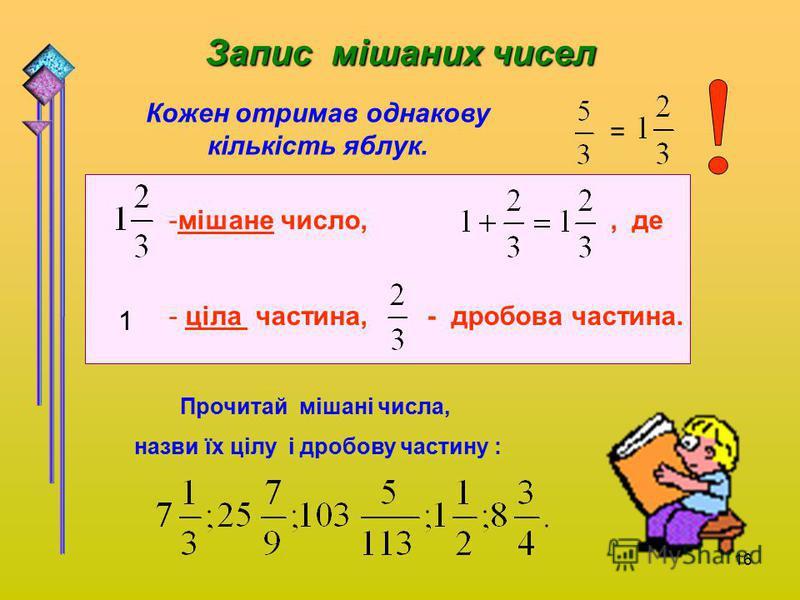 16 Запис мішаних чисел = Кожен отримав однакову кількість яблук. -мішане число,, де - ціла частина, - дробова частина. 1 Прочитай мішані числа, назви їх цілу і дробову частину :