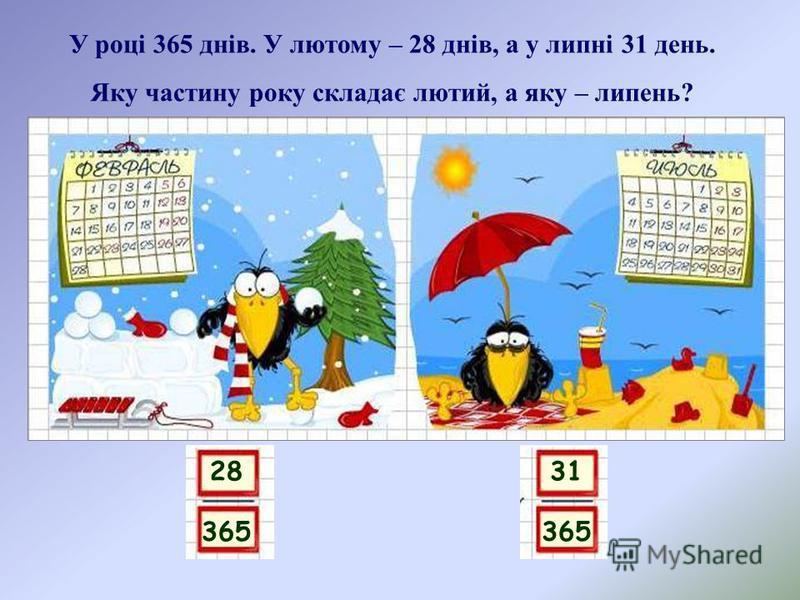 28 365 У році 365 днів. У лютому – 28 днів, а у липні 31 день. Яку частину року складає лютий, а яку – липень? 31 365