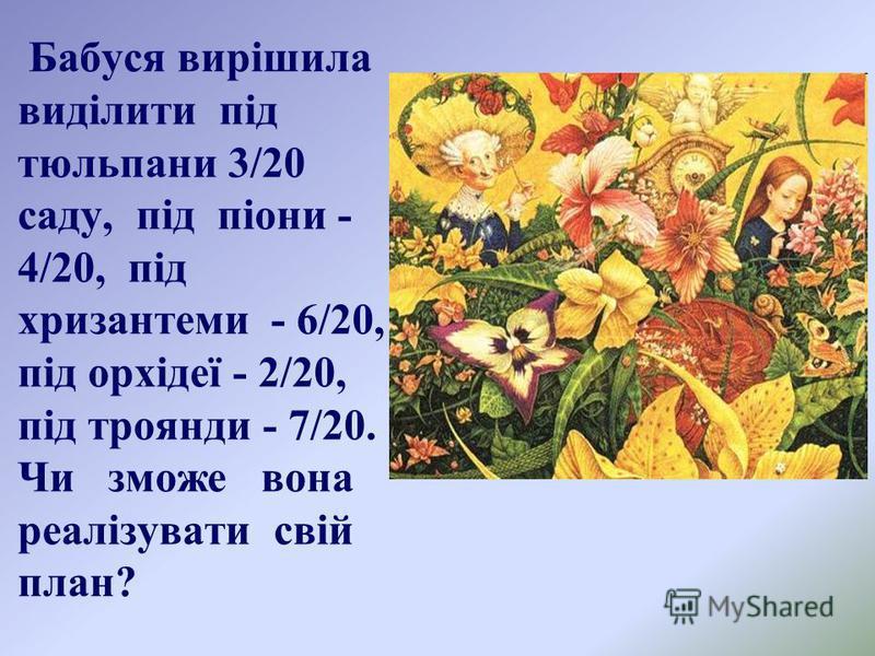 Бабуся вирішила виділити під тюльпани 3/20 саду, під піони - 4/20, під хризантеми - 6/20, під орхідеї - 2/20, під троянди - 7/20. Чи зможе вона реалізувати свій план?