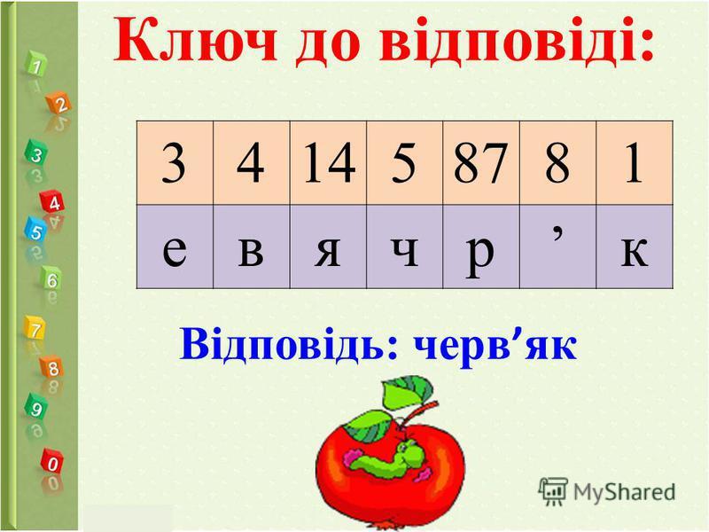 Ключ до відповіді: 341458781 евячрк Відповідь: черв як
