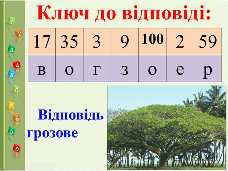 Ключ до відповіді: 173539 100 259 вогзоер Відповідь грозове
