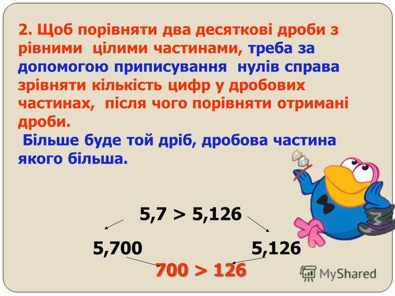 Якщо до десяткового дробу справа приписати будь - яку кількість нулів, то отримаємо дріб, який дорівнює даному. 0,3=0,30=0,300=0,3000=… Значення дробу, який закінчується нулями, не зміниться, якщо останні нулі в його запису відкинути. 5,060000=5,06.