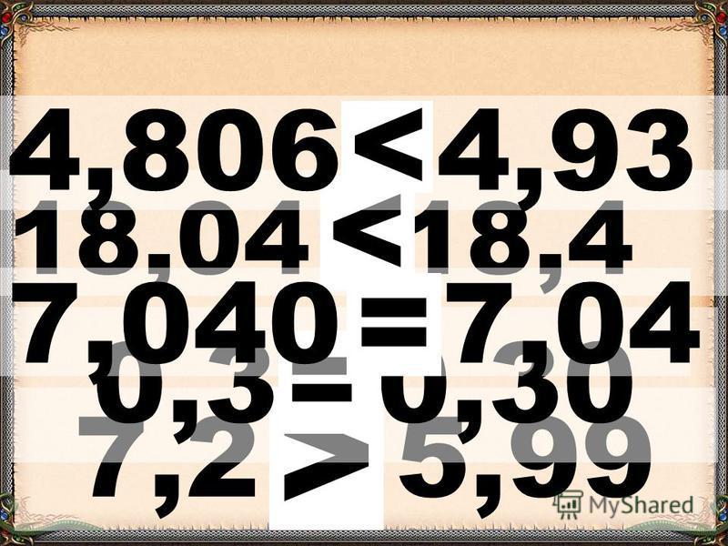 7,2 * 5,99 > 18,04 * 18,4 < 0,3 *0,30 = 4,806 * 4,93 < 7,040 * 7,04 =
