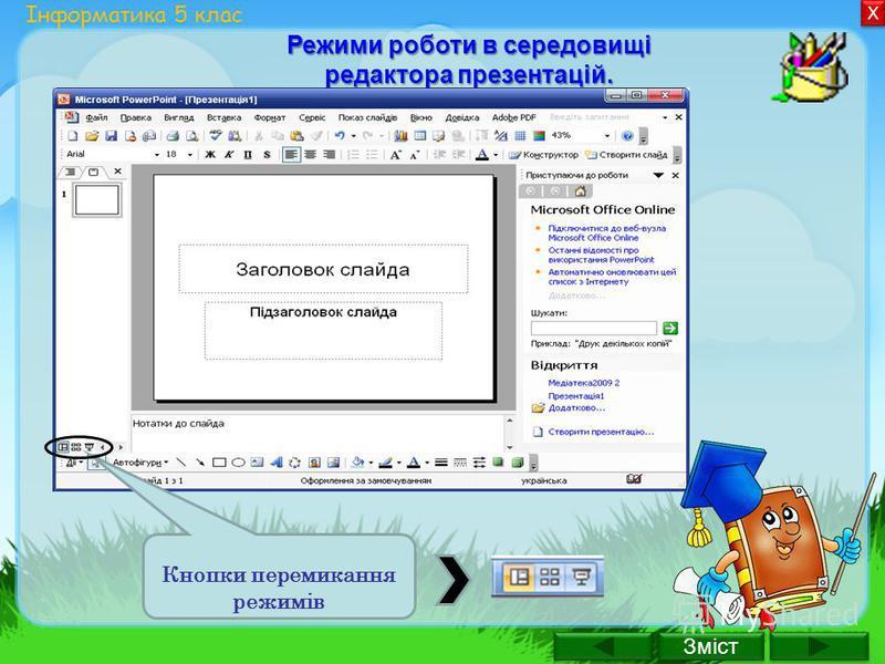 Зміст Х Х Інформатика 5 клас Режими роботи в середовищі редактора презентацій. Кнопки перемикання режимів