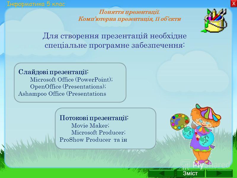 Слайдові презентації: Microsoft Office (PowerPoint); OpenOffice (Presentations); Ashampoo Office (Presentations Зміст Х Х Інформатика 5 клас Поняття презентації. Компютерна презентація, її обєкти Для створення презентацій необхідне спеціальне програм