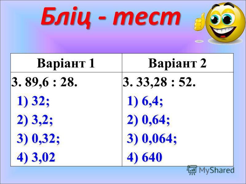Бліц - тест Варіант 1Варіант 2 3. 89,6 : 28.3. 33,28 : 52. 1) 32; 1) 6,4; 2) 3,2; 2) 0,64; 3) 0,32; 3) 0,064; 4) 3,02 4) 640