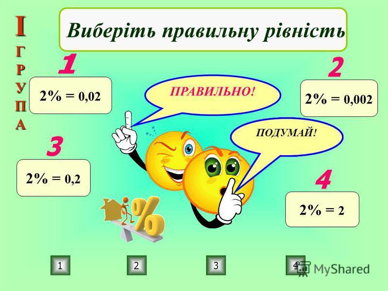ПРАВИЛЬНО! ПОДУМАЙ! 1234 Виберіть правильну рівність 2% = 0,02 2% = 0,002 2% = 0,2 2% = 2 ІГРУПА