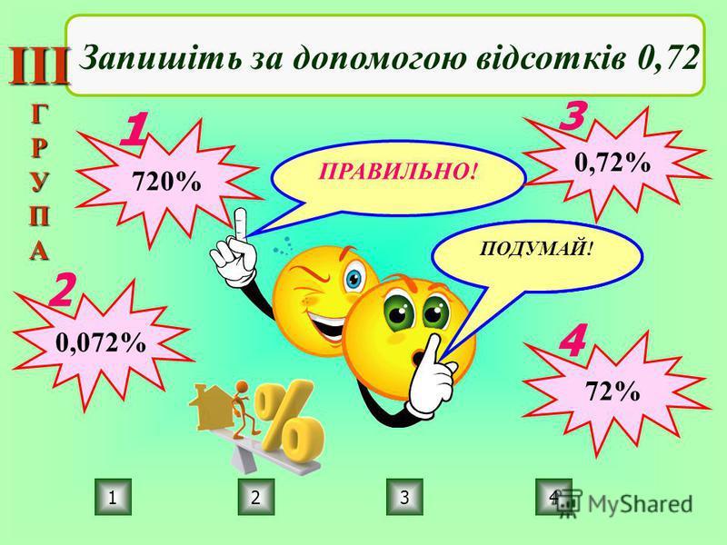 ПРАВИЛЬНО! ПОДУМАЙ! 4231 Запишіть за допомогою відсотків 0,72 720% 0,072% 0,72% 72% ІІІГРУПА