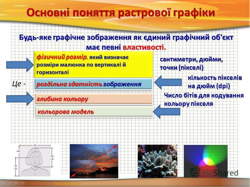 Основні поняття растрової графіки Будь-яке графічне зображення як єдиний графічний об'єкт має певні властивості. кольорова модель Це - фізичний розмір який визначає розміри малюнка по вертикалі й горизонталі фізичний розмір, який визначає розміри мал