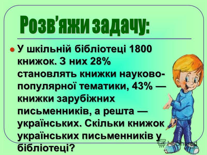У шкільній бібліотеці 1800 книжок. З них 28% становлять книжки науково- популярної тематики, 43% книжки зарубіжних письменників, а решта українських. Скільки книжок українських письменників у бібліотеці? У шкільній бібліотеці 1800 книжок. З них 28% с