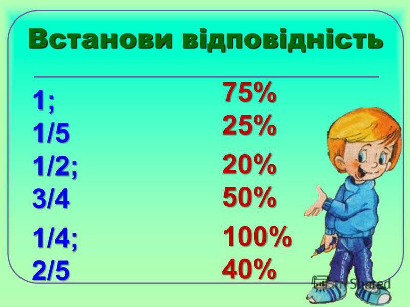 Встанови відповідність 1; 1/5 1/2; 3/4 1/4; 2/5 75% 25% 20% 50% 100% 40%