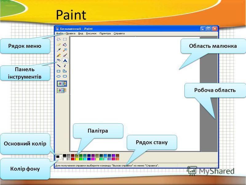 Paint Рядок меню Основний колір Палітра Рядок стану Робоча область Область малюнка Колір фону Панель інструментів