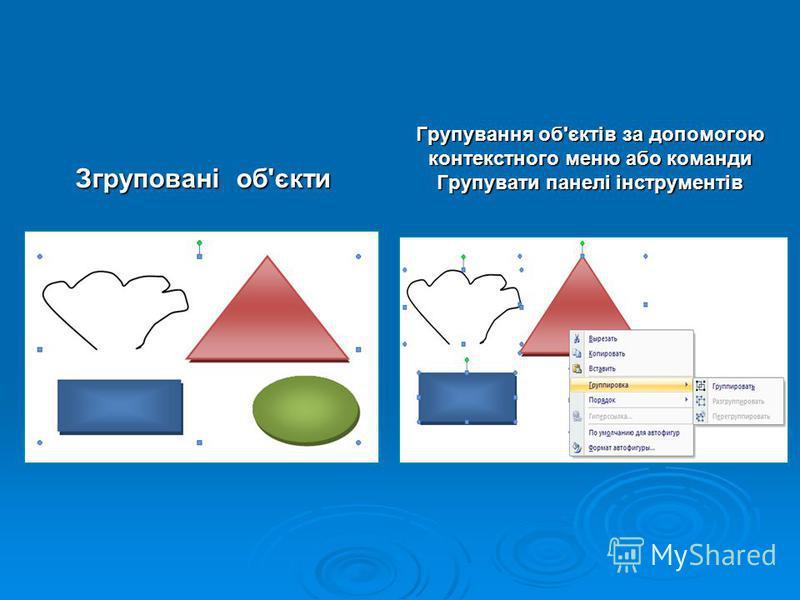 Групування об'єктів за допомогою контекстного меню або команди Групувати панелі інструментів Згруповані об'єкти