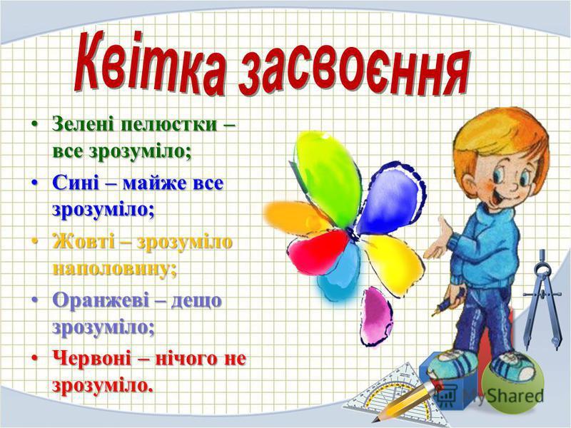 Зелені пелюстки – все зрозуміло;Зелені пелюстки – все зрозуміло; Сині – майже все зрозуміло;Сині – майже все зрозуміло; Жовті – зрозуміло наполовину;Жовті – зрозуміло наполовину; Оранжеві – дещо зрозуміло;Оранжеві – дещо зрозуміло; Червоні – нічого н