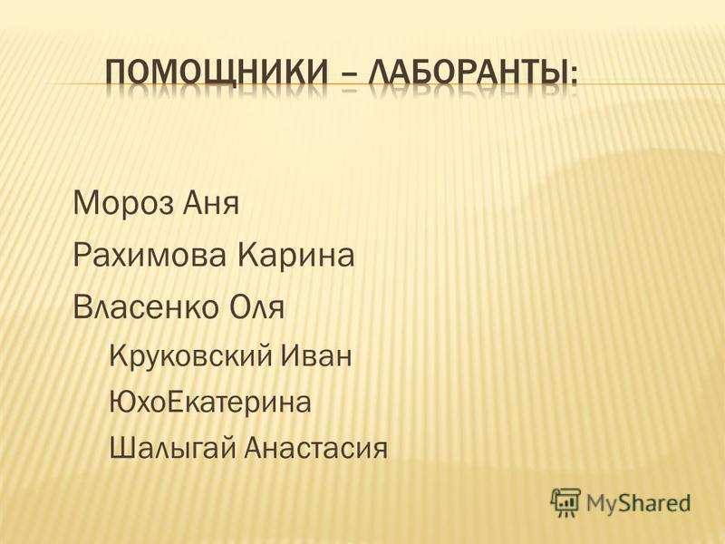 Мороз Аня Рахимова Карина Власенко Оля Круковский Иван Юхо Екатерина Шалыгай Анастасия