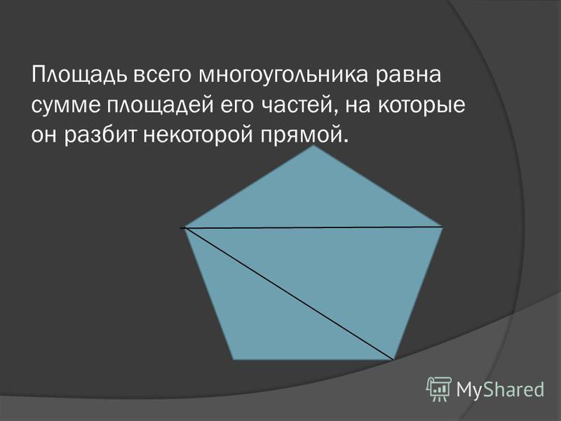 Площадь всего многоугольника равна сумме площадей его частей, на которые он разбит некоторой прямой.