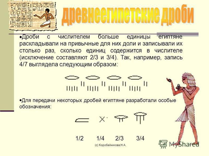 Дроби с числителем больше единицы египтяне раскладывали на привычные для них доли и записывали их столько раз, сколько единиц содержится в числителе (исключение составляют 2/3 и 3/4). Так, например, запись 4/7 выглядела следующим образом: Для передач