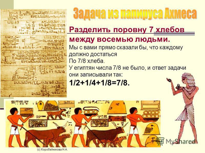 Разделить поровну 7 хлебов между восемью людьми. Мы с вами прямо сказали бы, что каждому должно достаться По 7/8 хлеба. У египтян числа 7/8 не было, и ответ задачи они записывали так: 1/2+1/4+1/8=7/8. (c) Коробейникова Н.А.