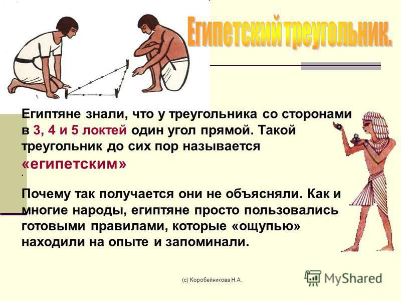 . Почему так получается они не объясняли. Как и многие народы, египтяне просто пользовались готовыми правилами, которые «ощупью» находили на опыте и запоминали. Египтяне знали, что у треугольника со сторонами в 3, 4 и 5 локтей один угол прямой. Такой