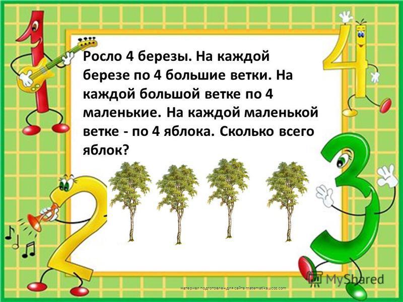 Росло 4 березы. На каждой березе по 4 большие ветки. На каждой большой ветке по 4 маленькие. На каждой маленькой ветке - по 4 яблока. Сколько всего яблок? материал подготовлен для сайта matematika.ucoz.com