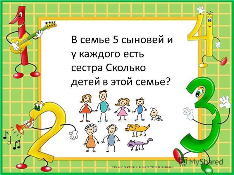В семье 5 сыновей и у каждого есть сестра Сколько детей в этой семье? материал подготовлен для сайта matematika.ucoz.com