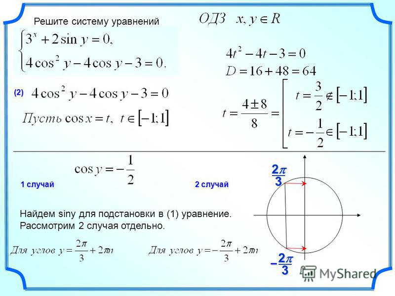 Решите систему уравнений (2) 323 2 – 1 случай 2 случай Найдем siny для подстановки в (1) уравнение. Рассмотрим 2 случая отдельно.