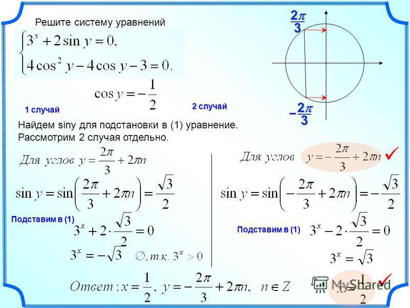 Решите систему уравнений Подставим в (1) 323 2 – 1 случай 2 случай Найдем siny для подстановки в (1) уравнение. Рассмотрим 2 случая отдельно. Подставим в (1)