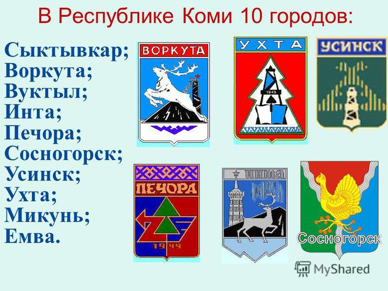 Сыктывкар; Воркута; Вуктыл; Инта; Печора; Сосногорск; Усинск; Ухта; Микунь; Емва. В Республике Коми 10 городов: