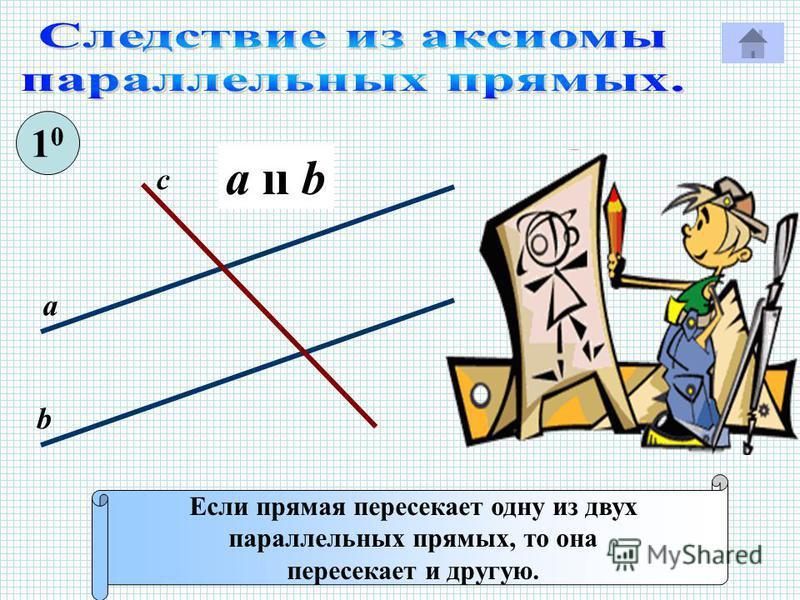 Если прямая пересекает одну из двух параллельных прямых, то она пересекает и другую. 1010 с а b a ıı b