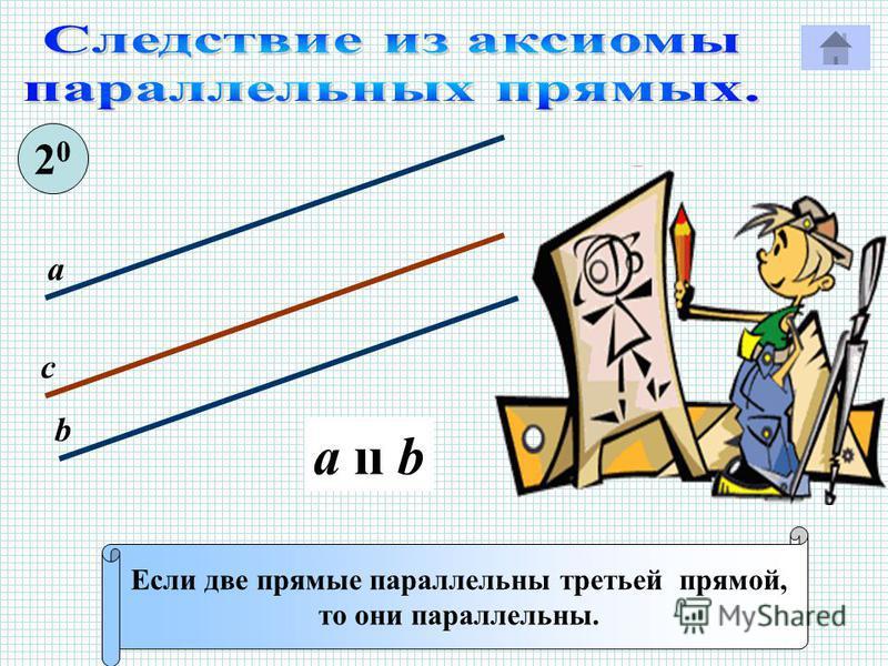 Если две прямые параллельны третьей прямой, то они параллельны. 2020 с а b a ıı b