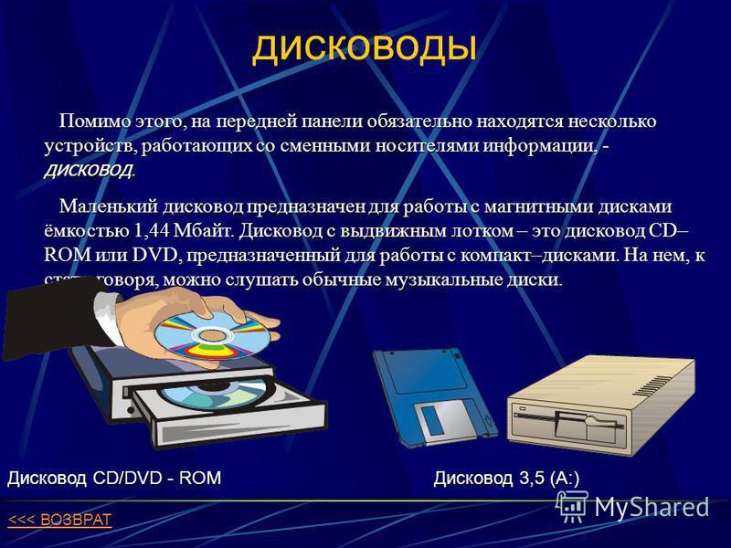 дисководы Помимо этого, на передней панели обязательно находятся несколько устройств, работающих со сменными носителями информации, - дисковод. Помимо этого, на передней панели обязательно находятся несколько устройств, работающих со сменными носител