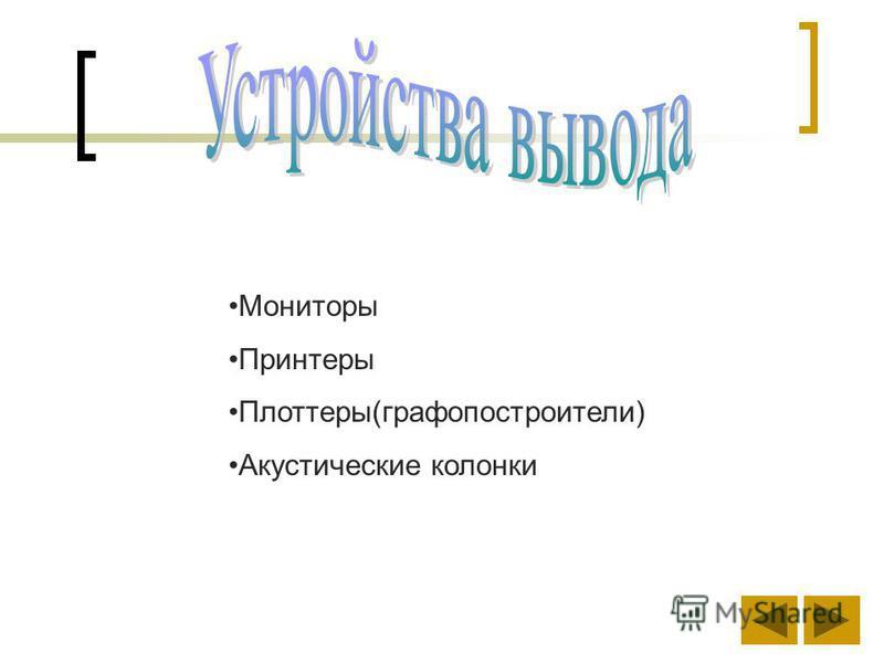 Мониторы Принтеры Плоттеры(графопостроители) Акустические колонки