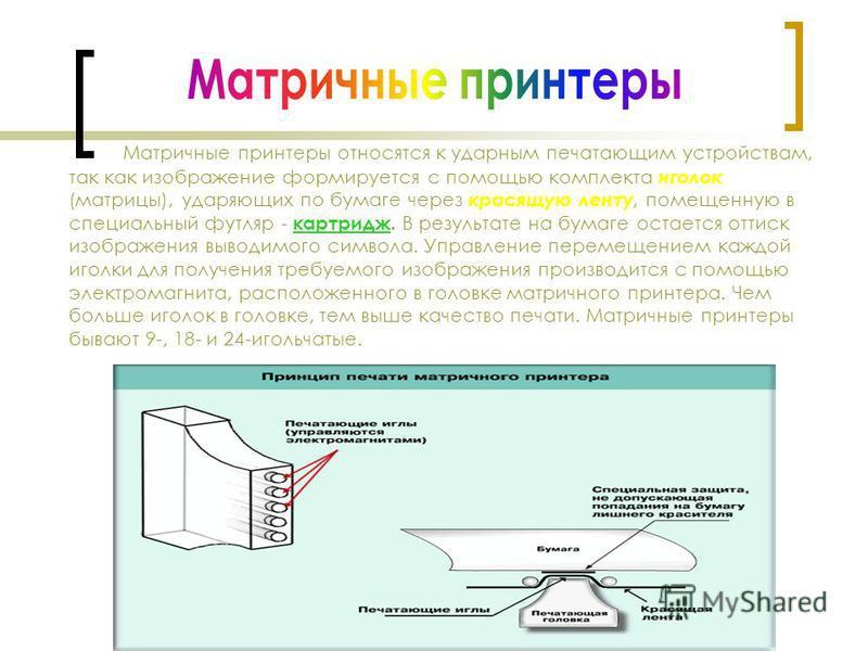 Матричные принтеры относятся к ударным печатающим устройствам, так как изображение формируется с помощью комплекта иголок (матрицы), ударяющих по бумаге через красящую ленту, помещенную в специальный футляр - картридж. В результате на бумаге остается