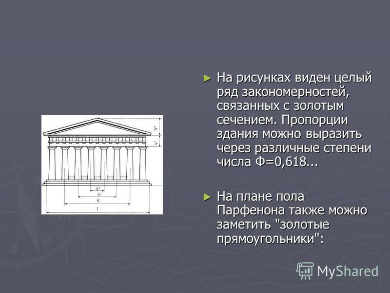 На рисунках виден целый ряд закономерностей, связанных с золотым сечением. Пропорции здания можно выразить через различные степени числа Ф=0,618... На плане пола Парфенона также можно заметить золотые прямоугольники:
