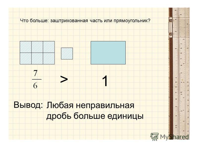 Что больше: заштрихованная часть или прямоугольник? 1 > Вывод: Любая неправильная дробь больше единицы